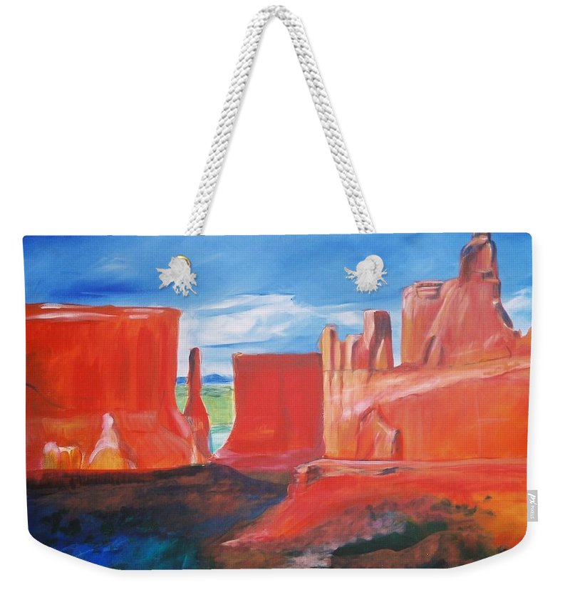 Floral Weekender Tote Bag featuring the painting Monument Valley by Eric Schiabor