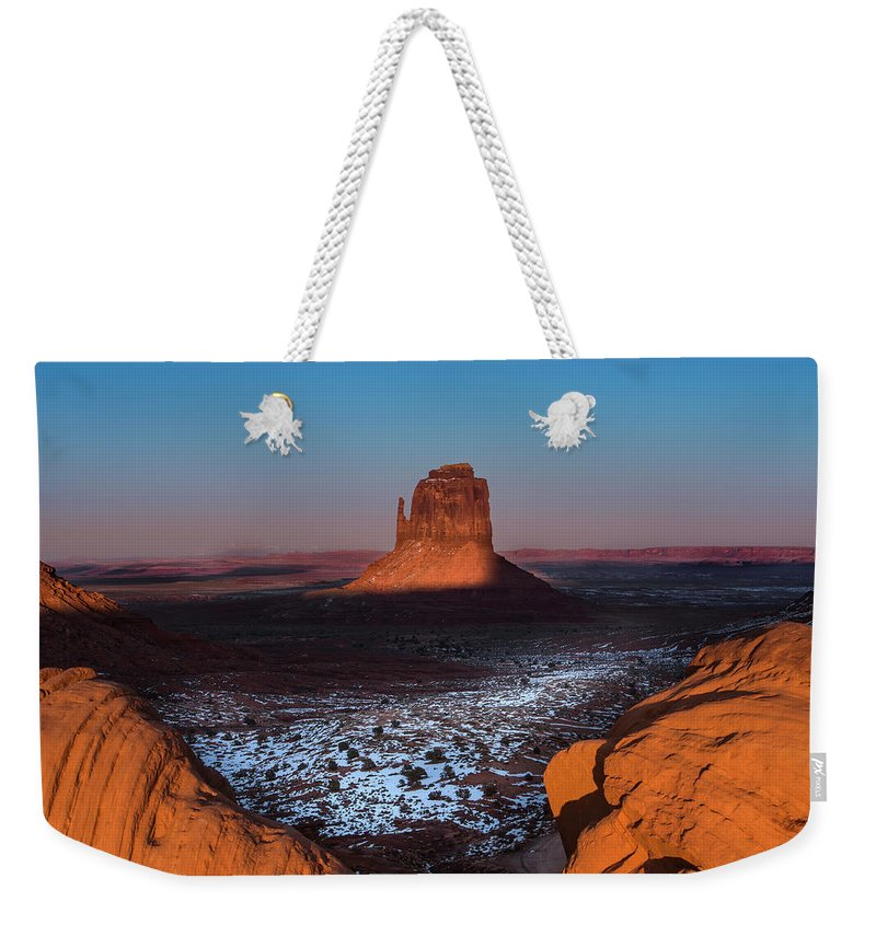 Utah Weekender Tote Bag featuring the photograph Monument Valley by Larry Marshall