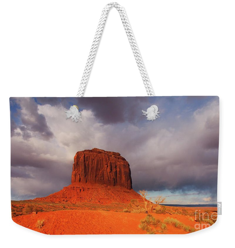 Monument Valle Weekender Tote Bag featuring the photograph Monument Valley Navajo Tribal Park by Jacklyn Duryea Fraizer