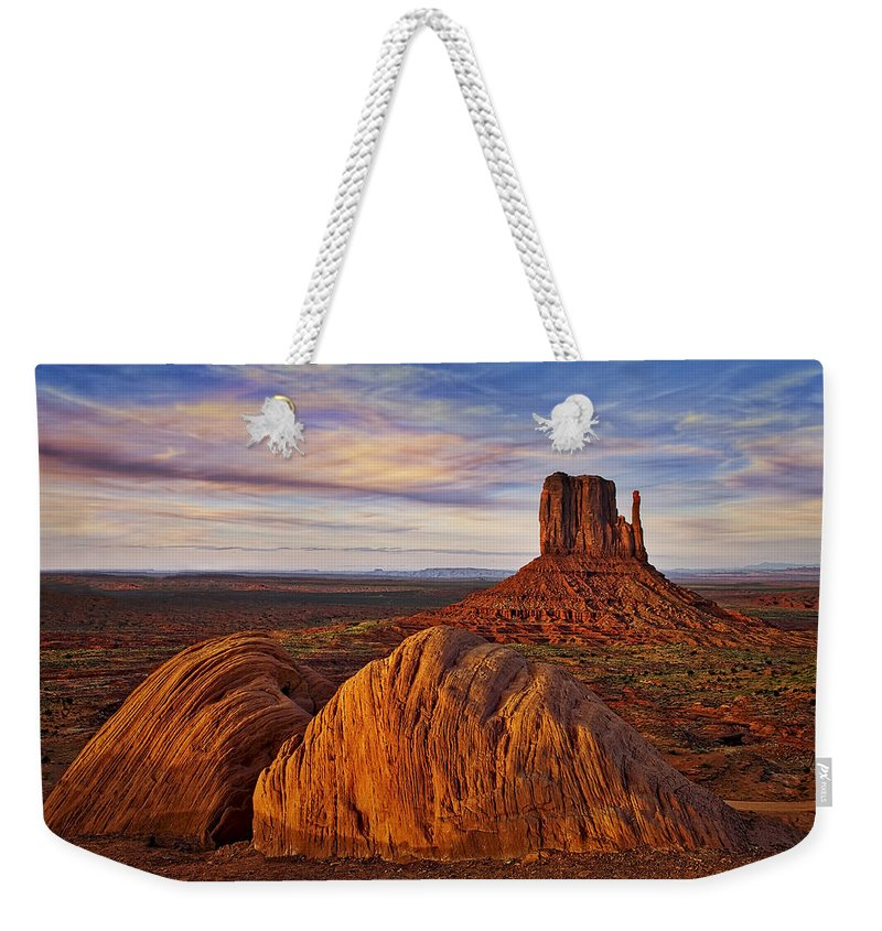 Arizona Weekender Tote Bag featuring the photograph Monument Valley West Mitten by Susan Candelario