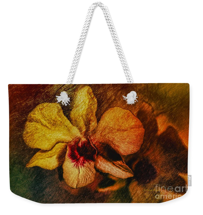 Orchid Weekender Tote Bag featuring the painting Mood Of The Orchid by Deborah Benoit
