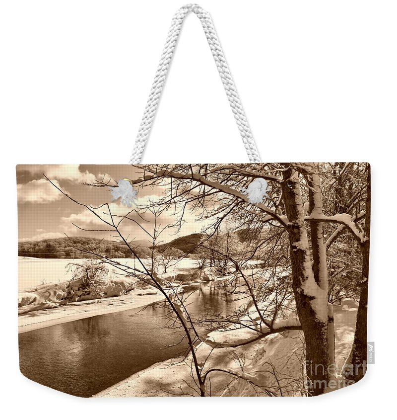 Brook Weekender Tote Bag featuring the photograph Mood Of Winter by Deborah Benoit