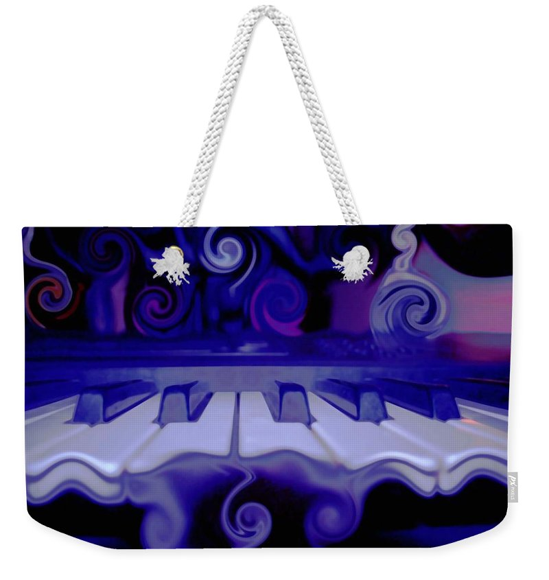 Music Weekender Tote Bag featuring the photograph Moody Blues by Linda Sannuti