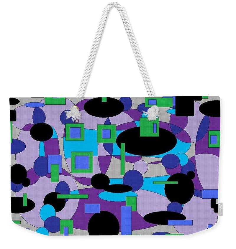 Digital Abstract Weekender Tote Bag featuring the digital art Moody Purple by Jordana Sands