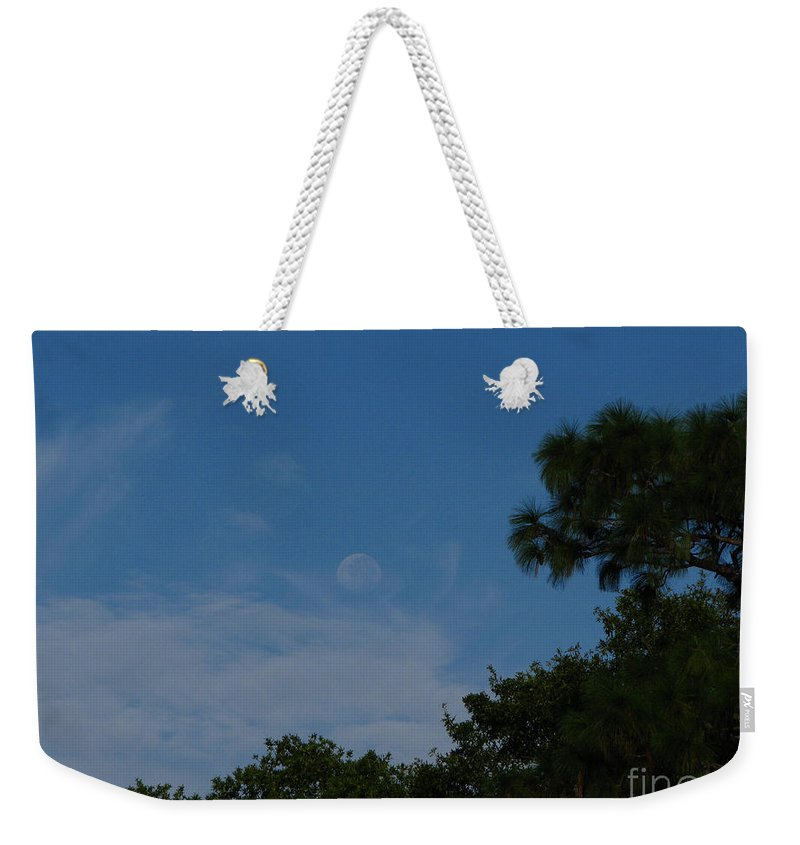 September A.m. Moon Weekender Tote Bag featuring the photograph Moon Age Day Dream by Greg Patzer