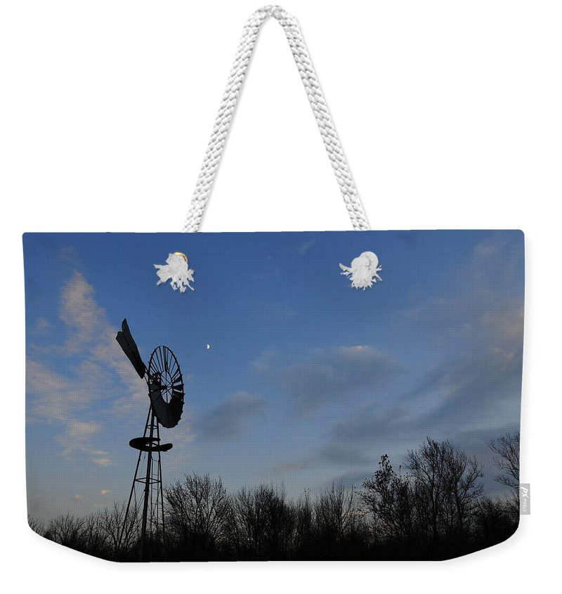 Wind Weekender Tote Bag featuring the photograph Moon And Windmill by David Arment