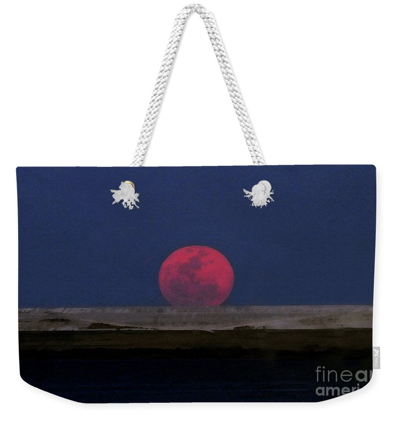 Moon Weekender Tote Bag featuring the painting Moon At Perigee by David Lee Thompson