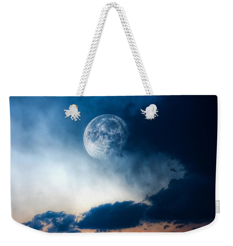 Sky Weekender Tote Bag featuring the photograph Moon by Bob Orsillo