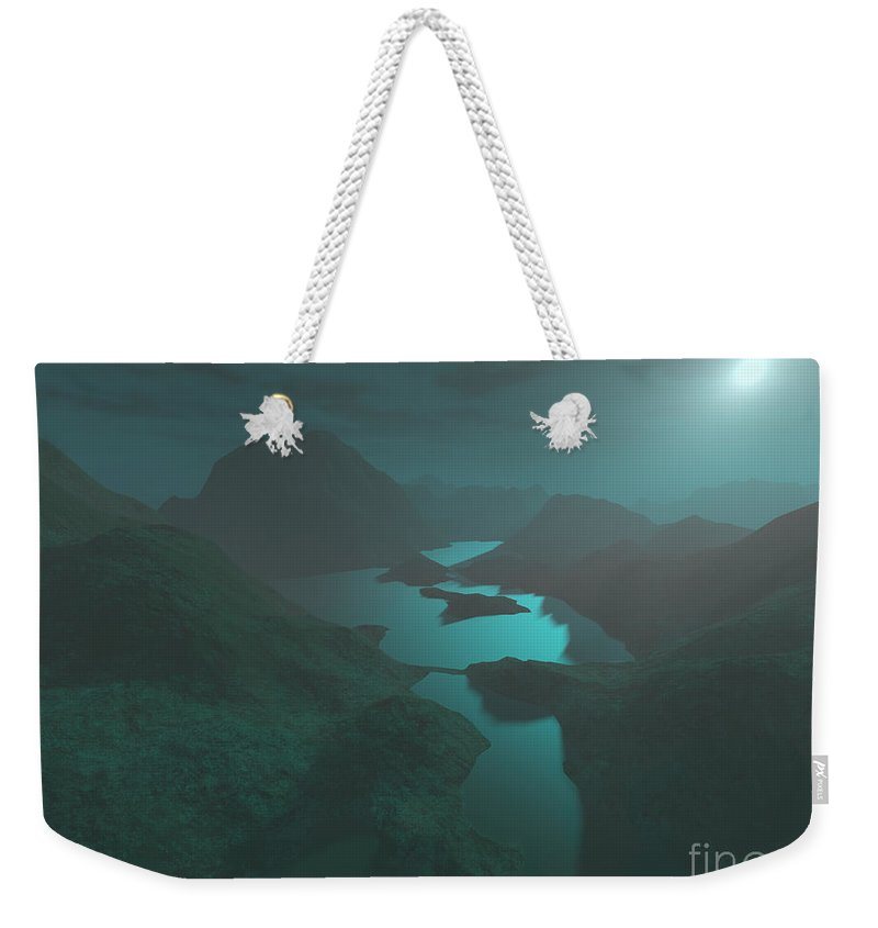 Digital Art Weekender Tote Bag featuring the digital art Moon Light At The Mountains by Gaspar Avila