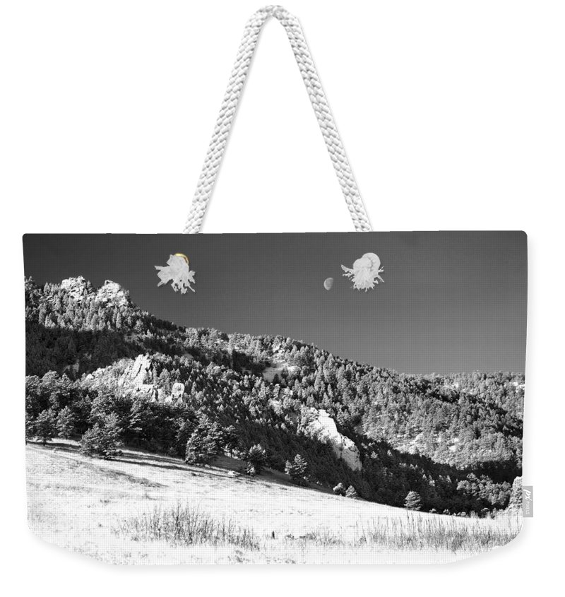 Colorado Weekender Tote Bag featuring the photograph Moon Over Chatauqua 2 by Marilyn Hunt