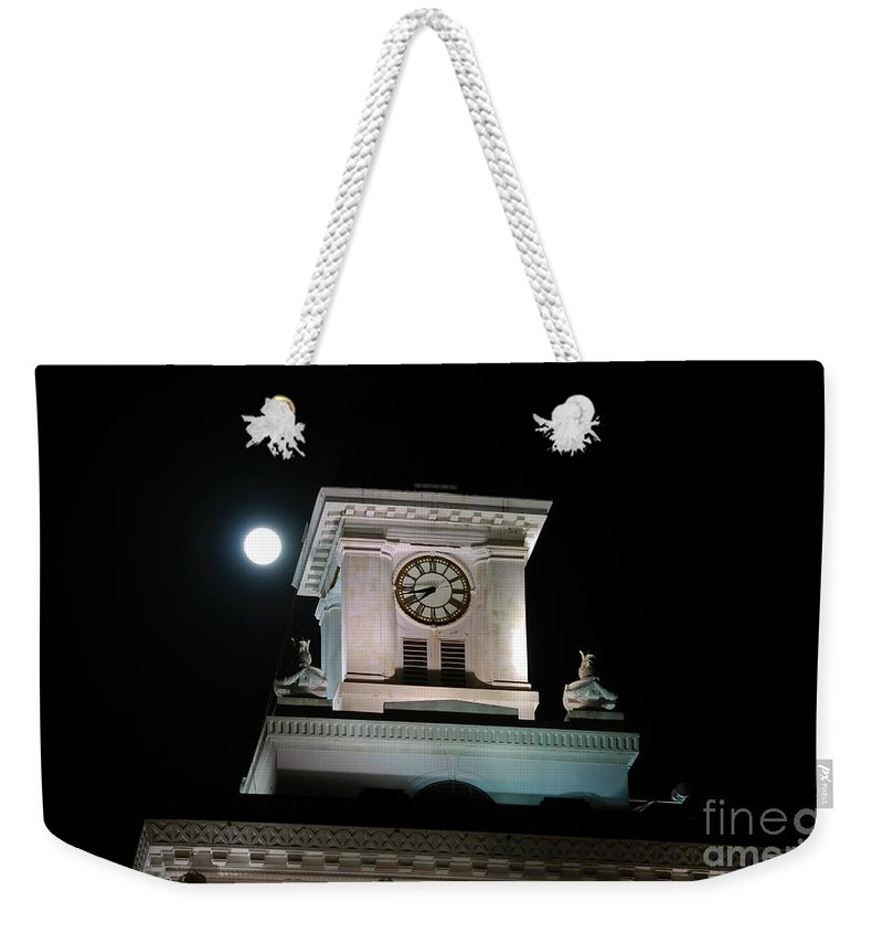 Full Moon Weekender Tote Bag featuring the photograph Moon Over City Hall by David Lee Thompson