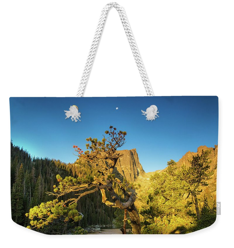 Dream Lake Weekender Tote Bag featuring the photograph Moon Over Dreams by Kunal Mehra