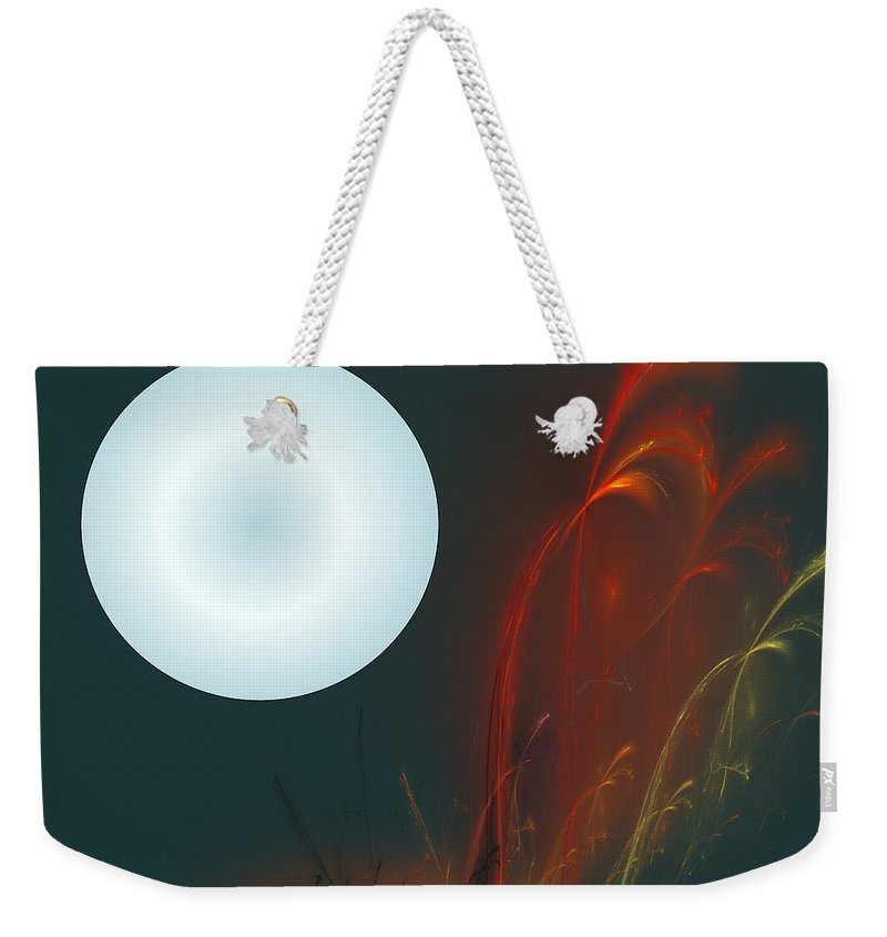 Digital Painting Weekender Tote Bag featuring the digital art Moon Over Fire Weed by David Lane