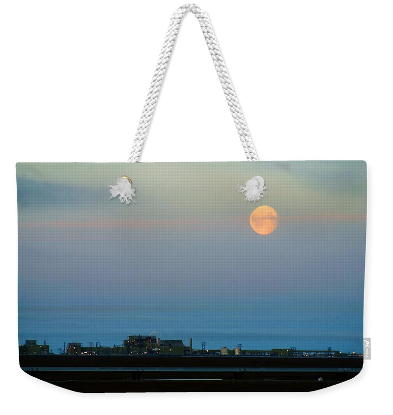 Landscape Weekender Tote Bag featuring the photograph Moon Over Flow Station 1 by Anthony Jones