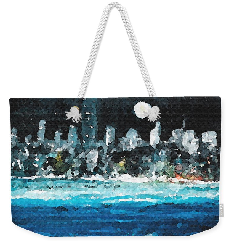 Miami Weekender Tote Bag featuring the painting Moon Over Miami by Jorge Delara