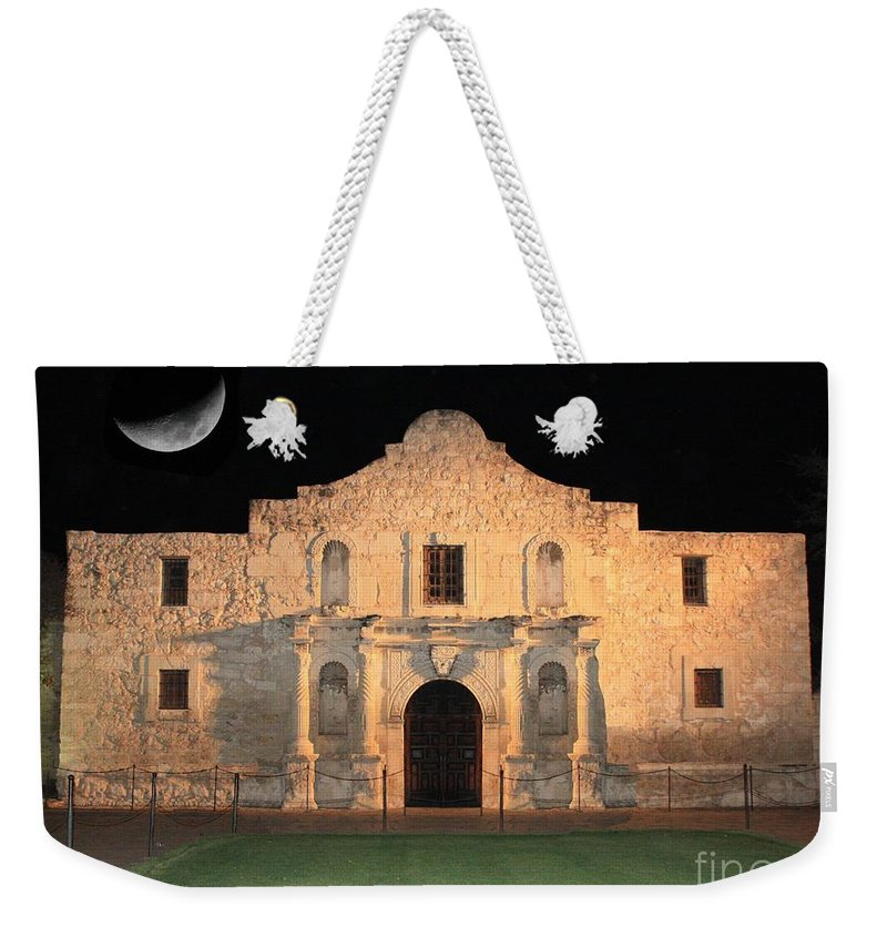 The Alamo Weekender Tote Bag featuring the photograph Moon Over The Alamo by Carol Groenen