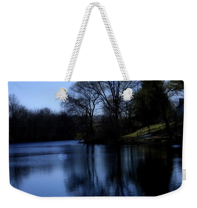 Moon Weekender Tote Bag featuring the digital art Moon Over The Charles by Edward Cardini
