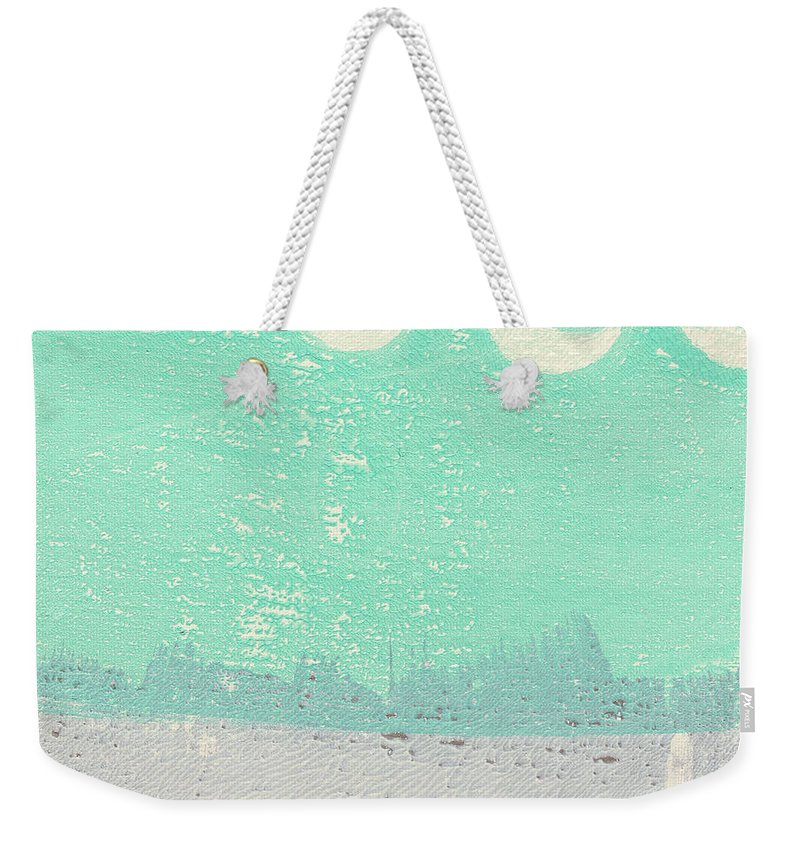 Abstract Weekender Tote Bag featuring the painting Moon Over The Sea by Linda Woods