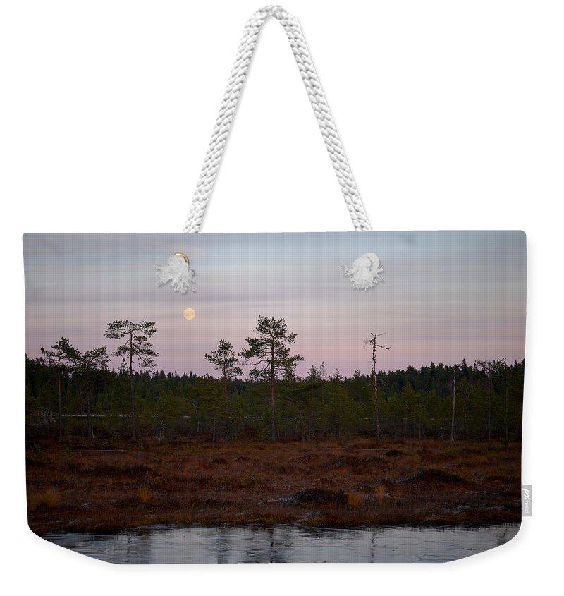 Lehtokukka Weekender Tote Bag featuring the photograph Moon Over Wetlands by Jouko Lehto