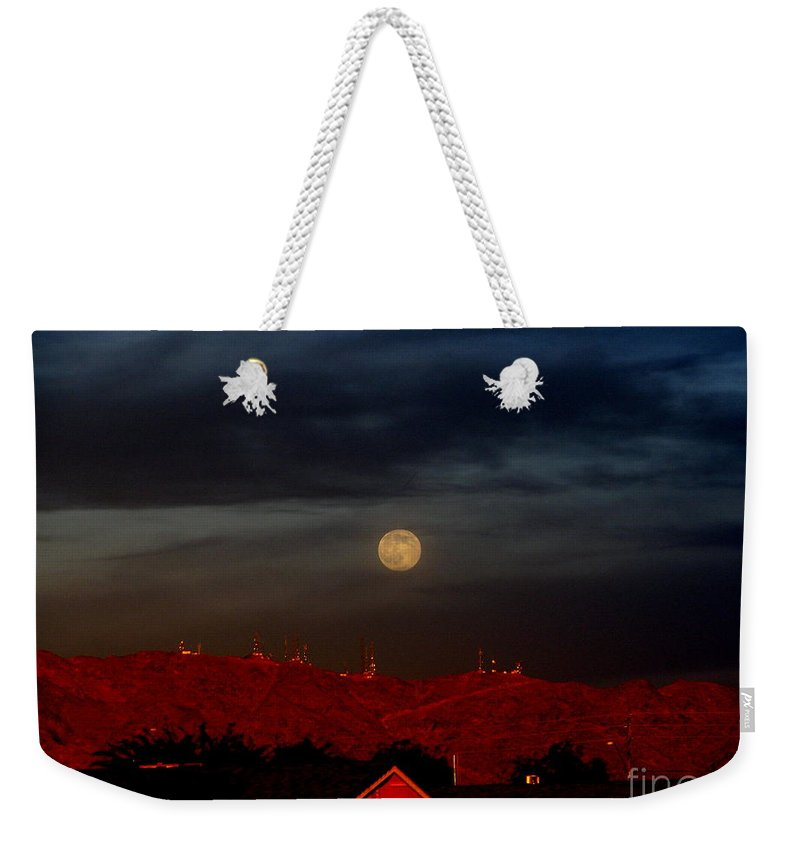 Patzer Weekender Tote Bag featuring the photograph Moon Over Yuma by Greg Patzer