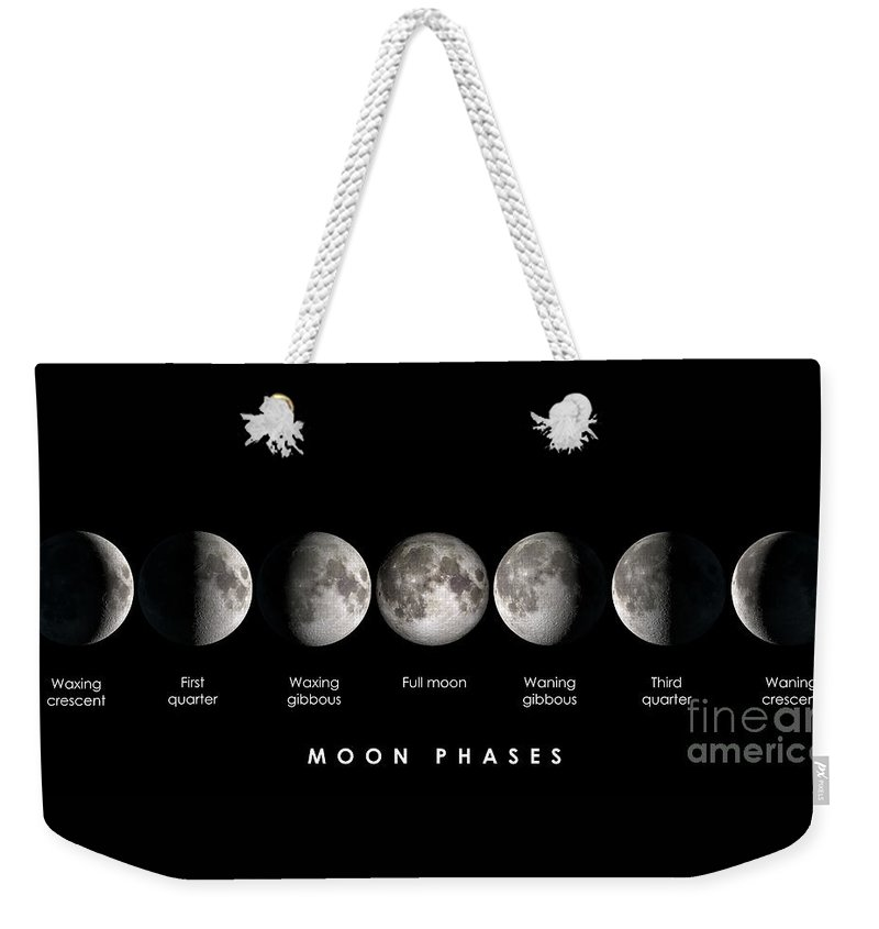 Moon Weekender Tote Bag featuring the photograph Moon Phases by Delphimages Photo Creations