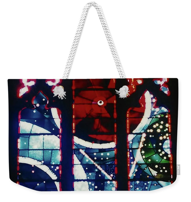 National Cathedral Weekender Tote Bag featuring the photograph Moon Rock In Space Window by D Hackett