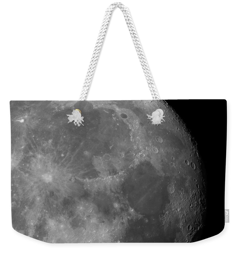 Isolated Weekender Tote Bag featuring the photograph Moon Surface Close-up by Lukasz Szczepanski