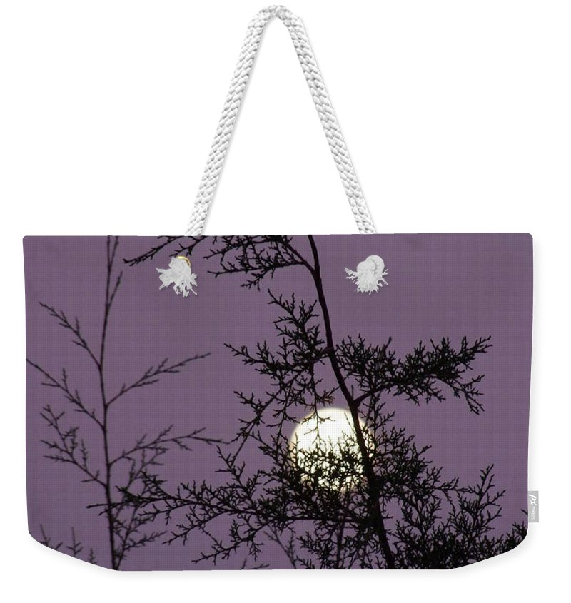 Mary Deal Weekender Tote Bag featuring the photograph Moon Trees by Mary Deal