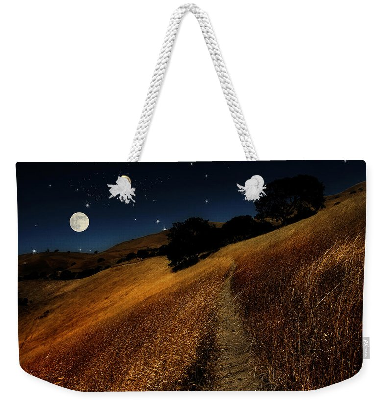 Landscape Weekender Tote Bag featuring the photograph Moon Walk by Karen W Meyer