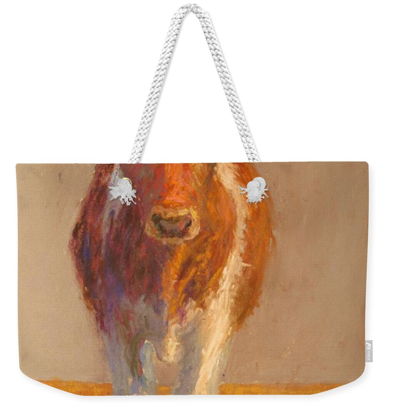 Cows Weekender Tote Bag featuring the painting Mooney by Susan Williamson