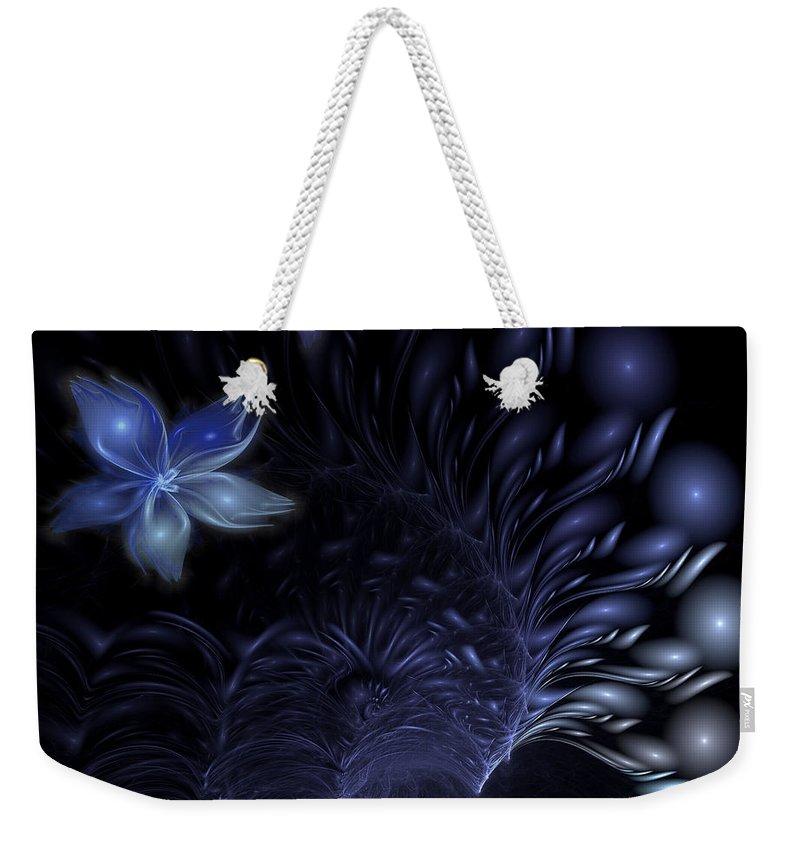 Abstract Weekender Tote Bag featuring the digital art Moonflower by Casey Kotas
