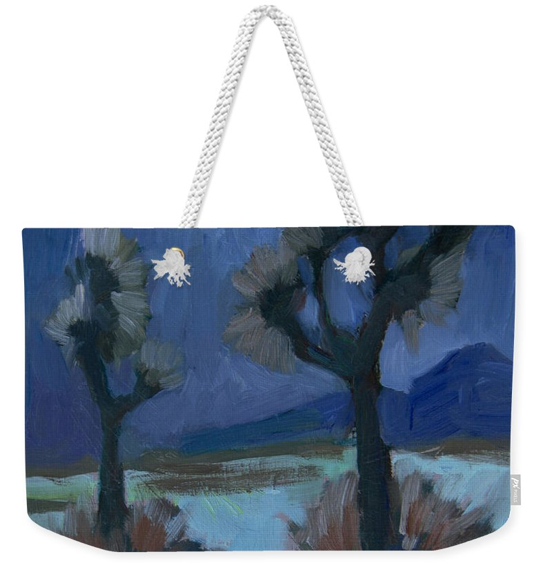 Palm Springs Weekender Tote Bag featuring the painting Moonlight And Joshua Tree by Diane McClary