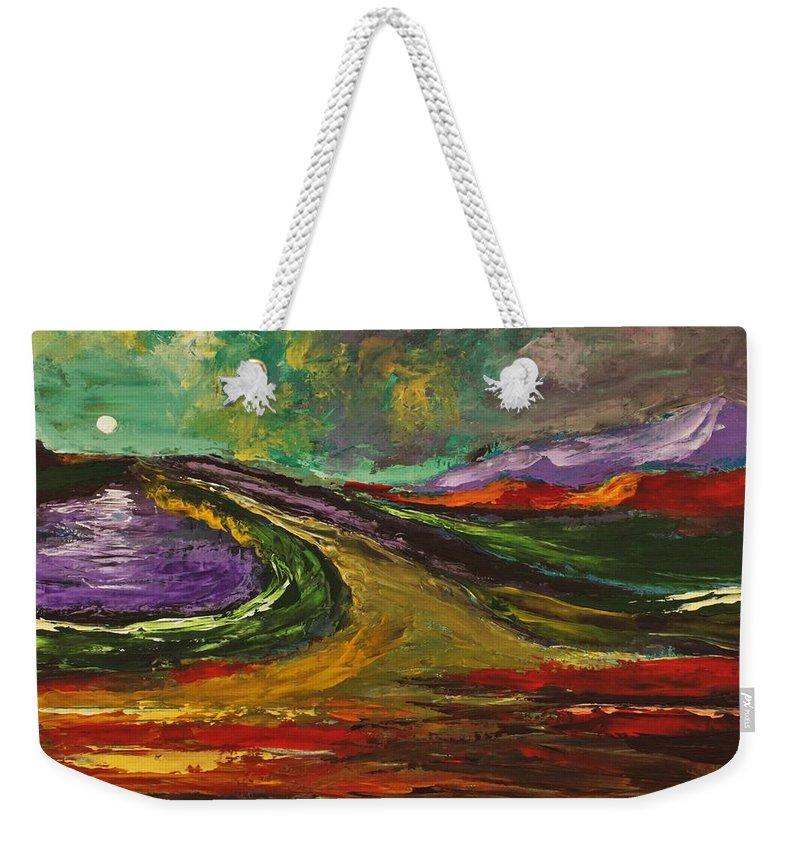 Moonlight Weekender Tote Bag featuring the painting Moonlight by Angel Reyes
