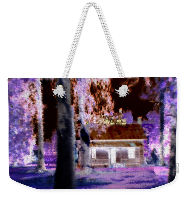 Cabin Weekender Tote Bag featuring the digital art Moonlight Cabin by Seth Weaver