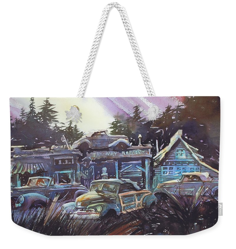 Ford Convertibles Weekender Tote Bag featuring the painting Moonlight Cabriolets by Ron Morrison