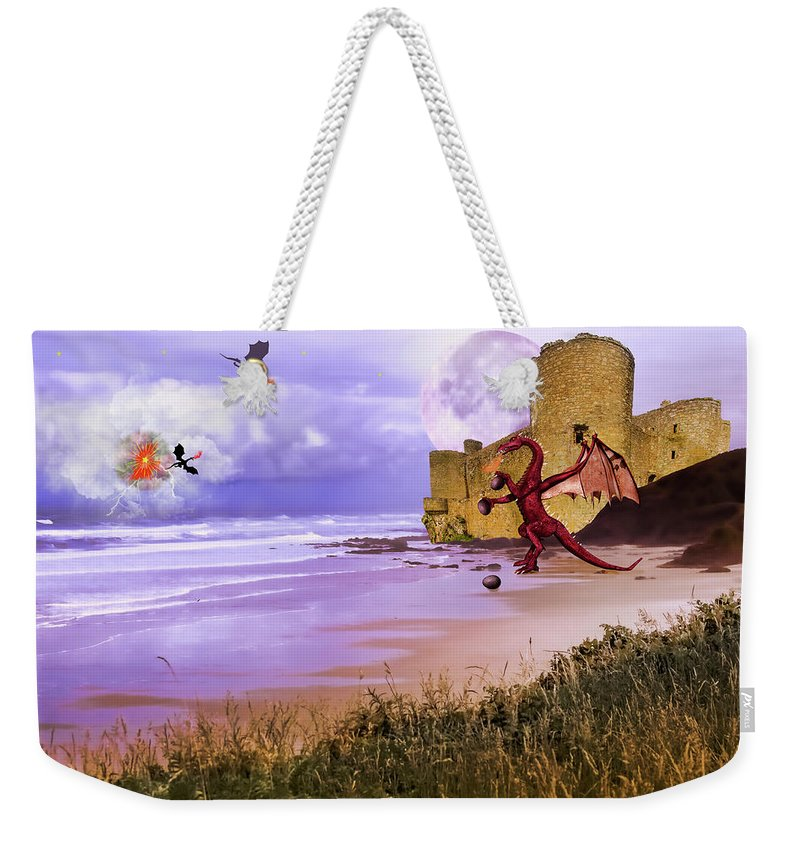 Dragon Weekender Tote Bag featuring the photograph Moonlight Dragon Attack by Diane Schuster