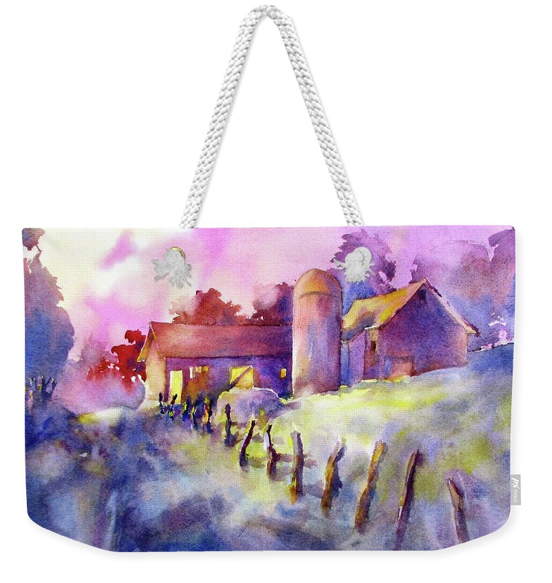 Watercolor Weekender Tote Bag featuring the painting Moonlight Farm by Virgil Carter