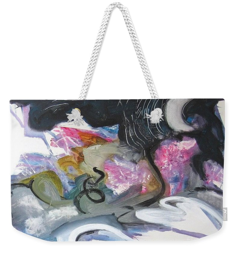 Abstract Paintings Weekender Tote Bag featuring the painting Moonlight Fever by Seon-Jeong Kim