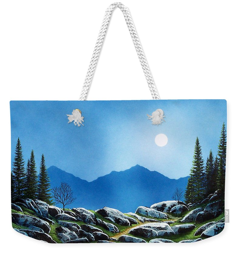 Landscape Weekender Tote Bag featuring the painting Moonlight Hike by Frank Wilson