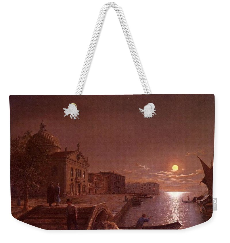 Palace Weekender Tote Bag featuring the digital art Moonlight In Venice Henry Pether by Eloisa Mannion