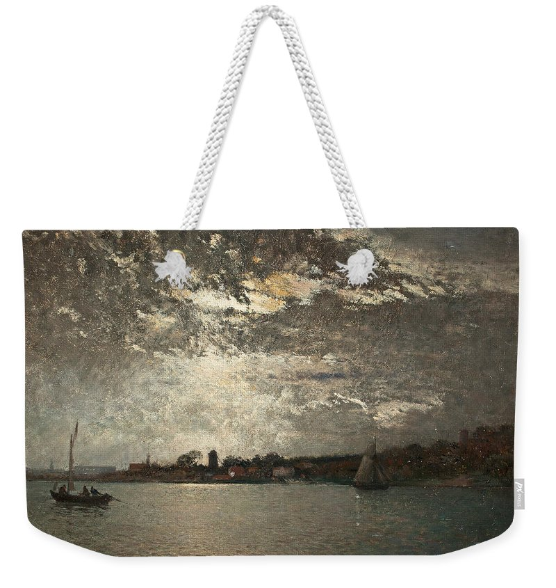 Swedish Art Weekender Tote Bag featuring the painting Moonlight Mood, The Stockholm Inlet by Alfred Wahlberg