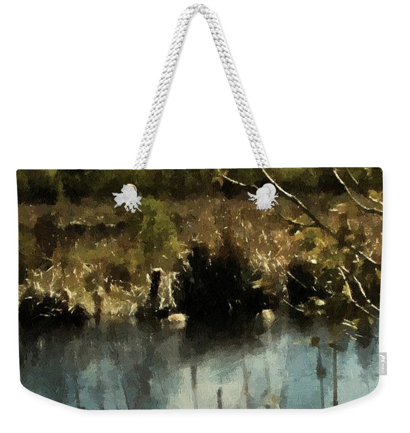 Autumn Weekender Tote Bag featuring the painting Moonlight On Canadian Lake by RC DeWinter