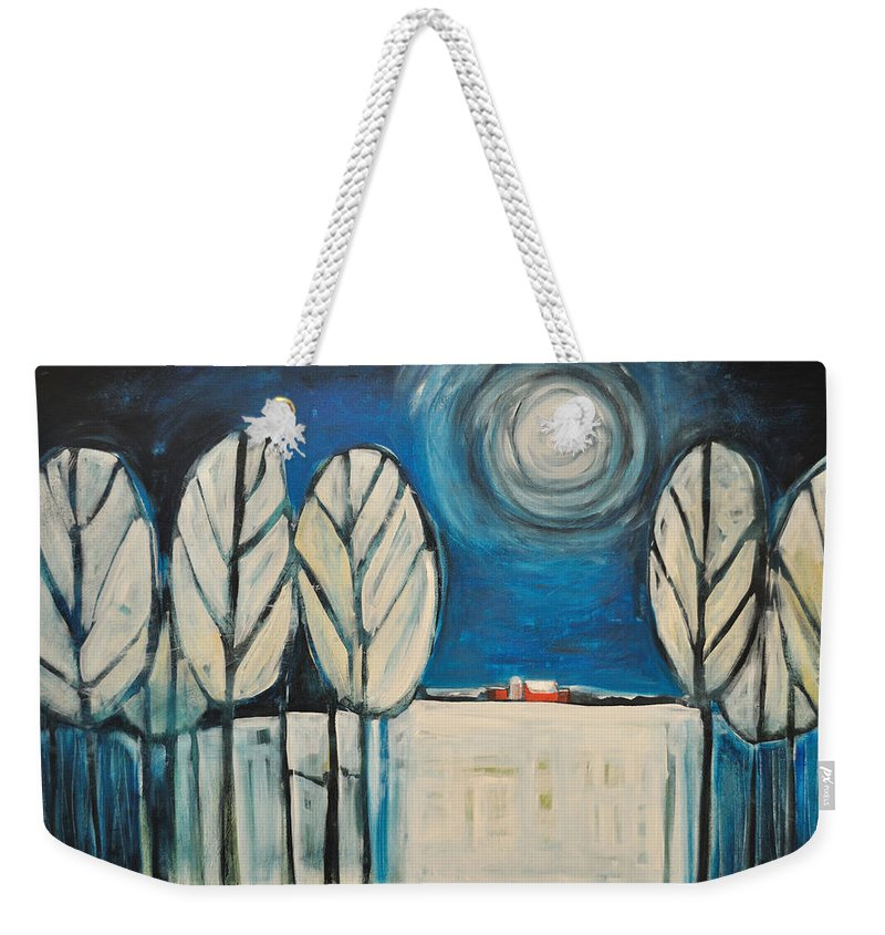 Landscape Weekender Tote Bag featuring the painting Moonlight On The First Snow by Tim Nyberg