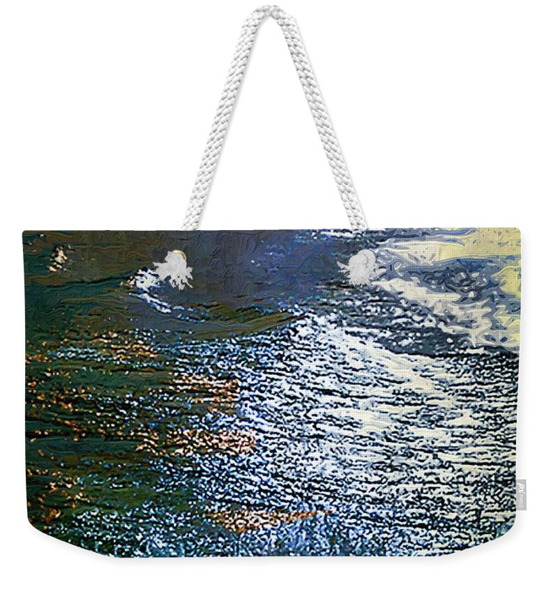Impasto Weekender Tote Bag featuring the painting Moonlight On The Mississippi by RC DeWinter