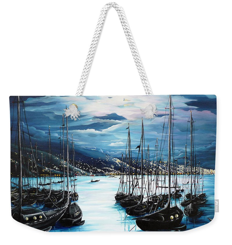 Ocean Painting  Caribbean Seascape Painting Moonlight Painting Yachts Painting Marina Moonlight Port Of Spain Trinidad And Tobago Painting Greeting Card Painting Weekender Tote Bag featuring the painting Moonlight Over Port Of Spain by Karin Dawn Kelshall- Best