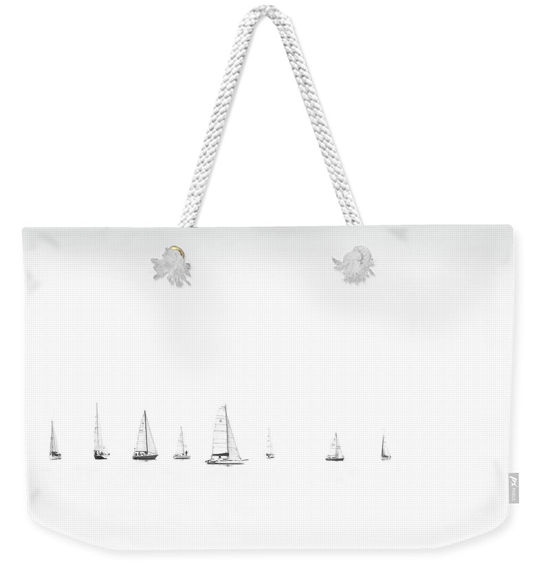 Regatta Weekender Tote Bag featuring the photograph Moonlight Sail by Andrea Kollo