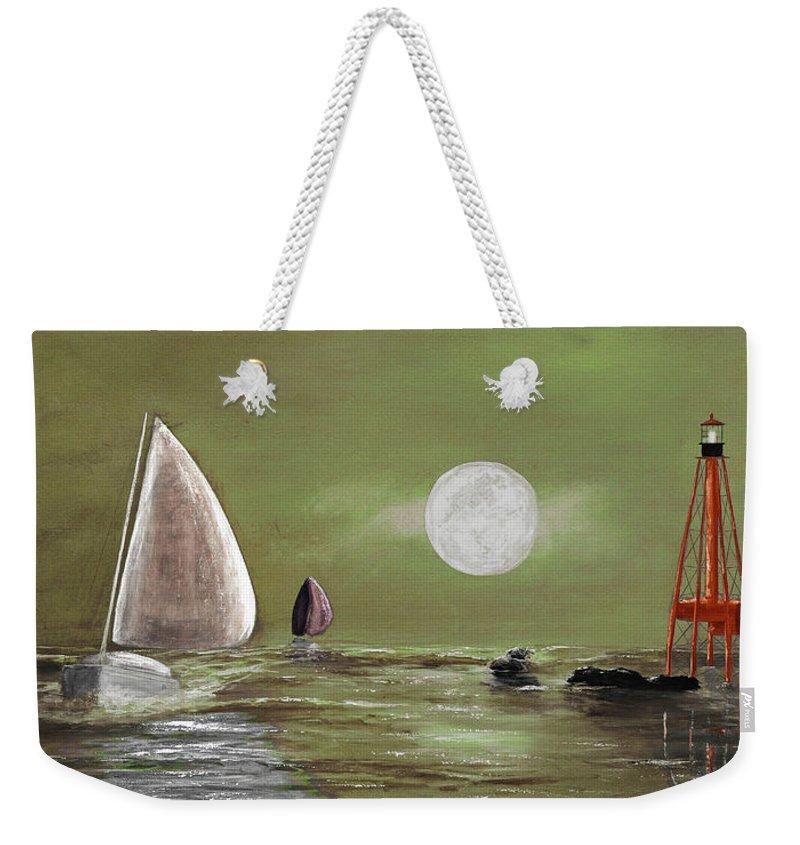 Keys Weekender Tote Bag featuring the painting Moonlight Sailnata 2 by Ken Figurski