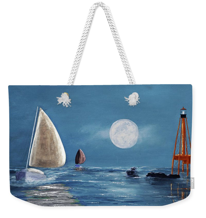 Keys Weekender Tote Bag featuring the painting Moonlight Sailnata 4 by Ken Figurski