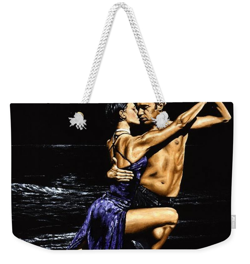 Moonlight Weekender Tote Bag featuring the painting Moonlight Tango by Richard Young