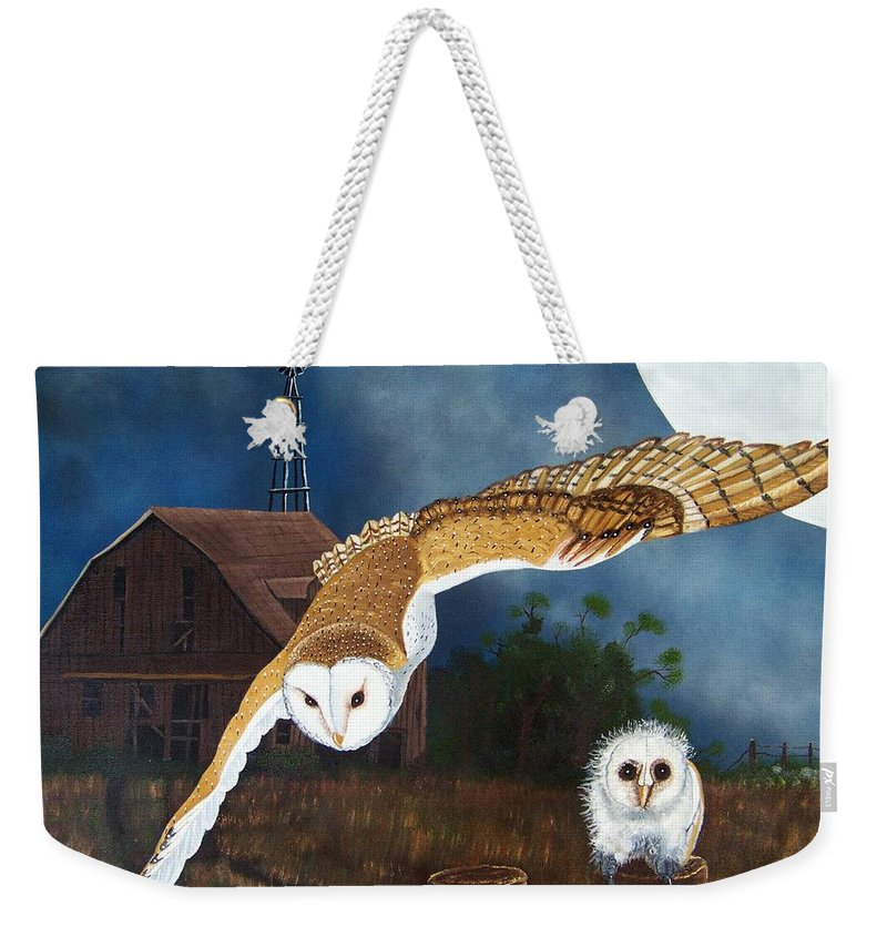 Owl Weekender Tote Bag featuring the painting Moonlit Flight by Debbie LaFrance